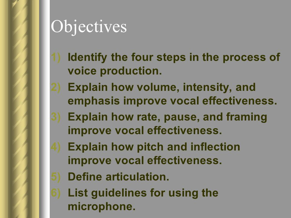 Objectives Identify the four steps in the process of voice production.