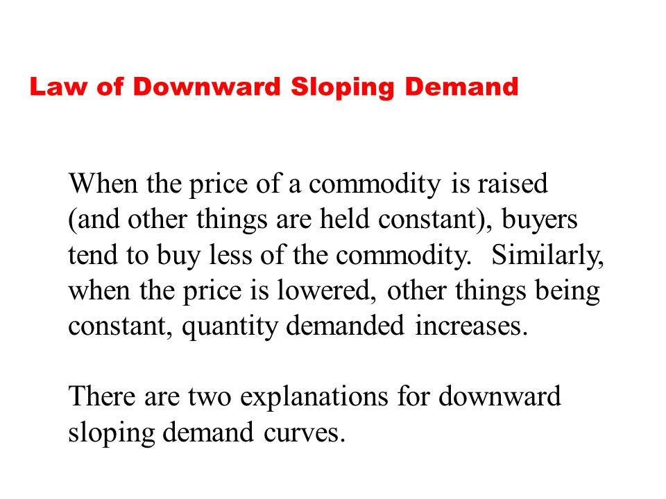 Law of Downward Sloping Demand