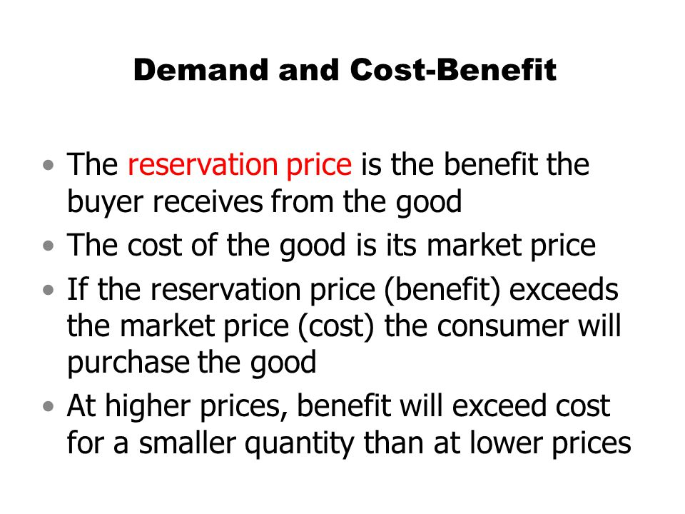 Demand and Cost-Benefit