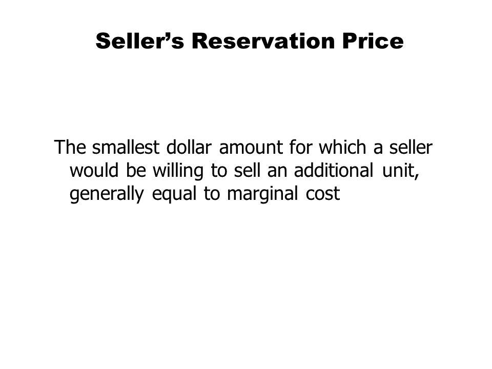 Seller's Reservation Price