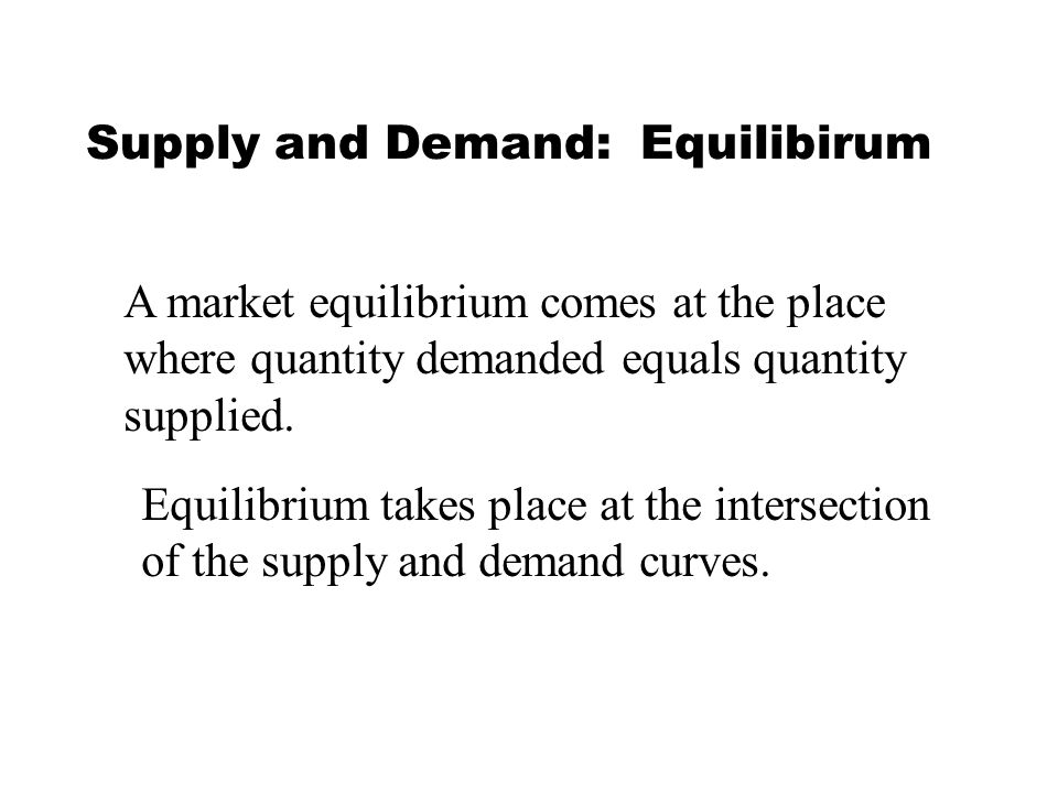 Supply and Demand: Equilibirum