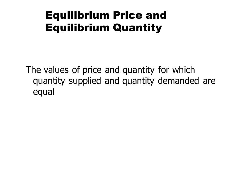 Equilibrium Price and Equilibrium Quantity