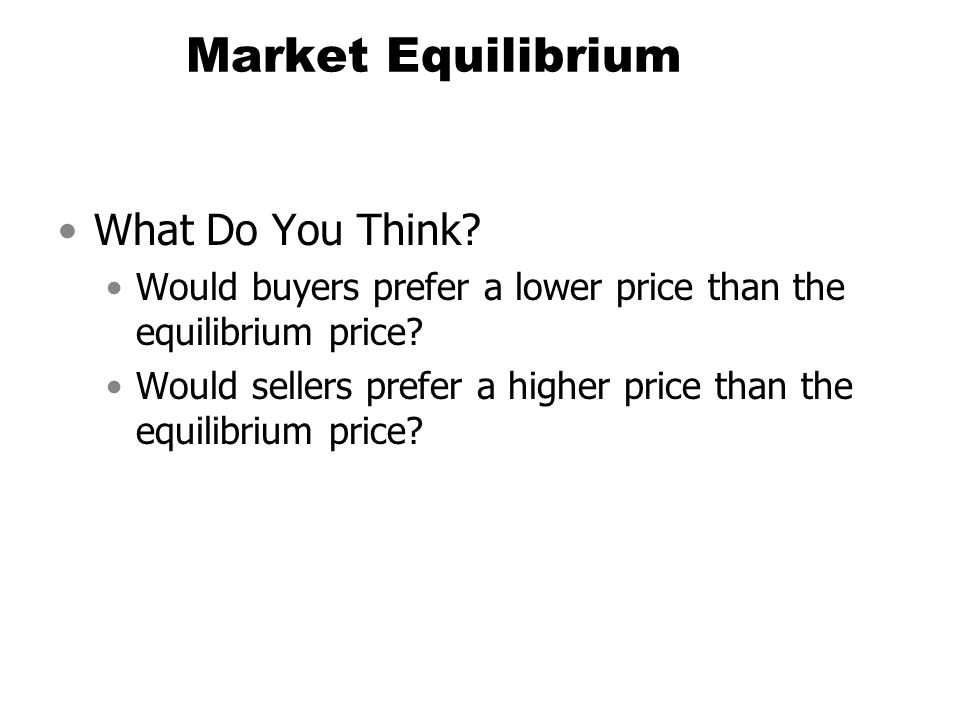 Market Equilibrium What Do You Think