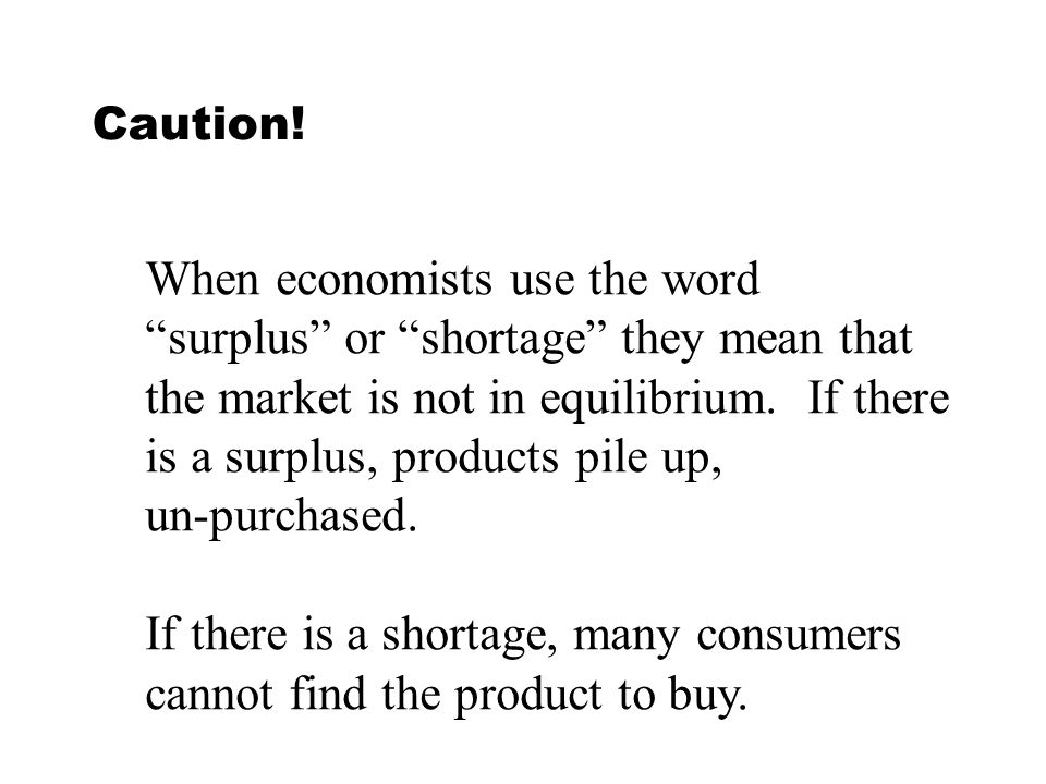 When economists use the word surplus or shortage they mean that