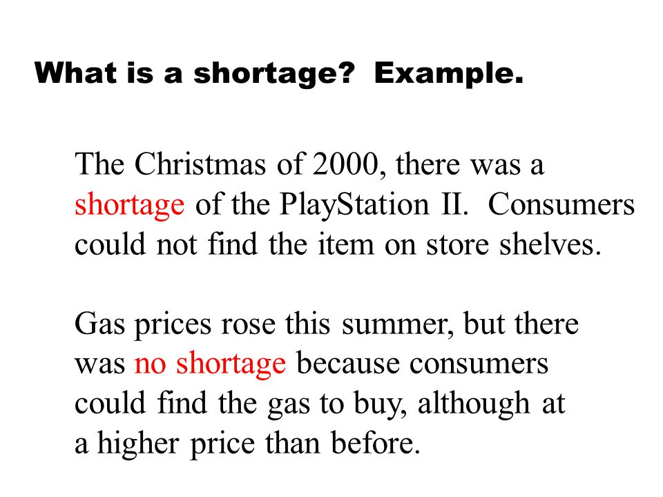 What is a shortage Example.