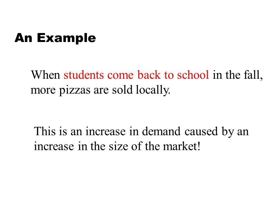 An Example When students come back to school in the fall, more pizzas are sold locally.