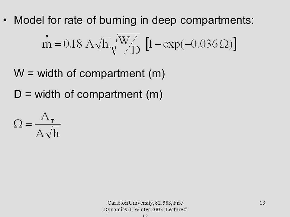 Model for rate of burning in deep compartments: