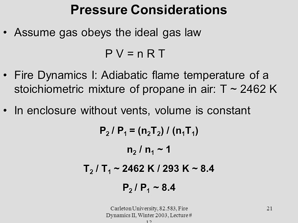 Pressure Considerations