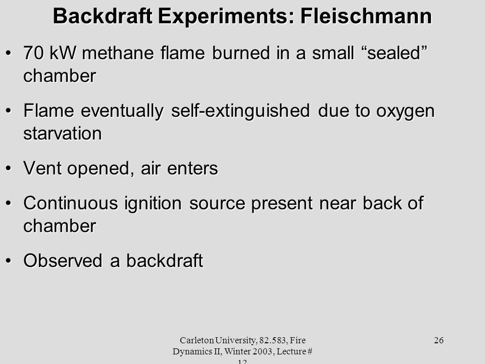 Backdraft Experiments: Fleischmann