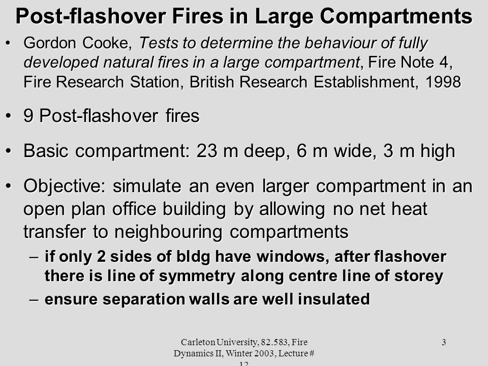 Post-flashover Fires in Large Compartments