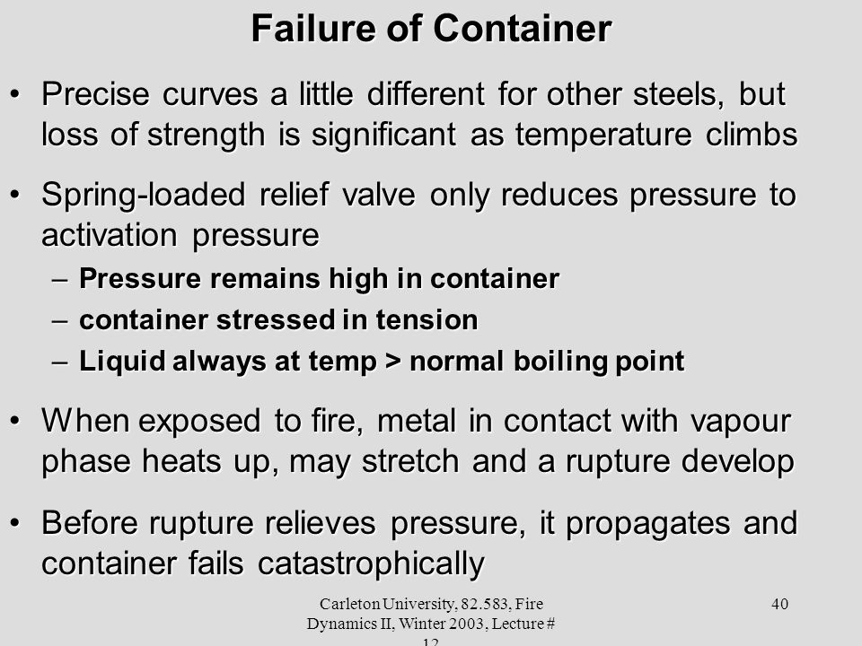 Failure of Container Precise curves a little different for other steels, but loss of strength is significant as temperature climbs.