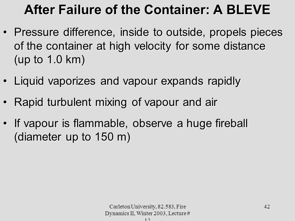 After Failure of the Container: A BLEVE