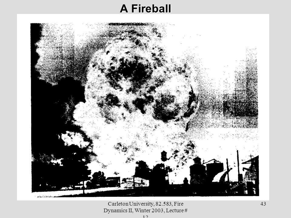 A Fireball Carleton University, 82.583, Fire Dynamics II, Winter 2003, Lecture # 12