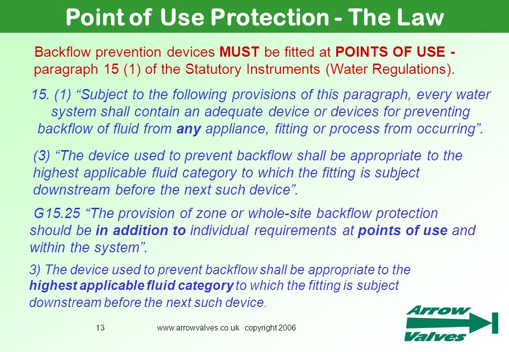 Point of Use Protection - The Law
