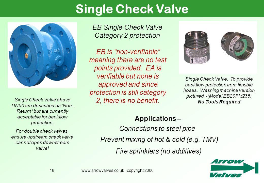 Single Check Valve EB Single Check Valve Category 2 protection