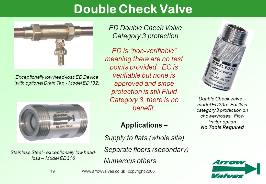 Double Check Valve ED Double Check Valve Category 3 protection