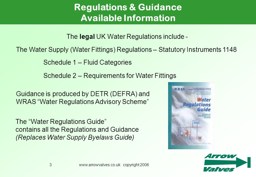 The legal UK Water Regulations include -