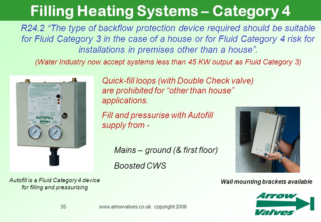 Filling Heating Systems – Category 4 Wall mounting brackets available