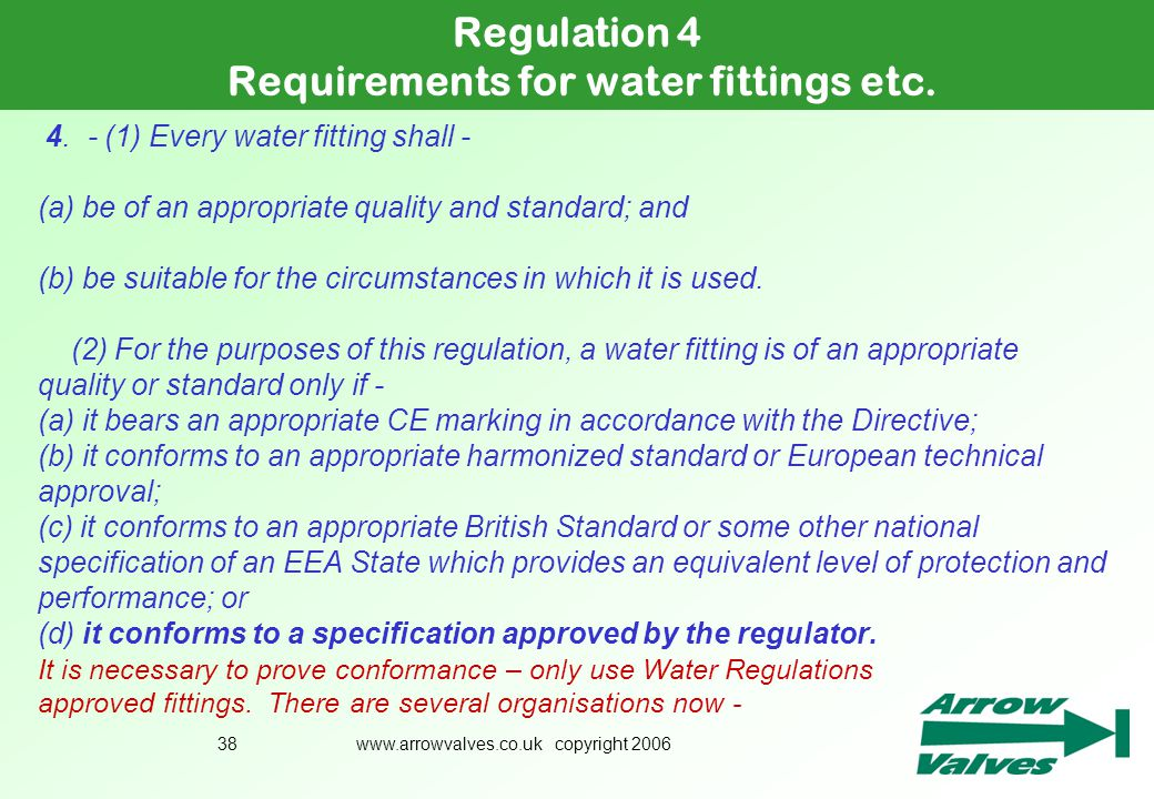 Requirements for water fittings etc.