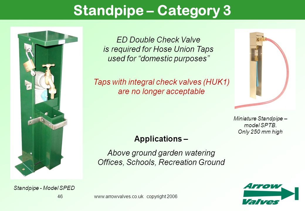 Standpipe – Category 3 July ED Double Check Valve is required for Hose Union Taps used for domestic purposes