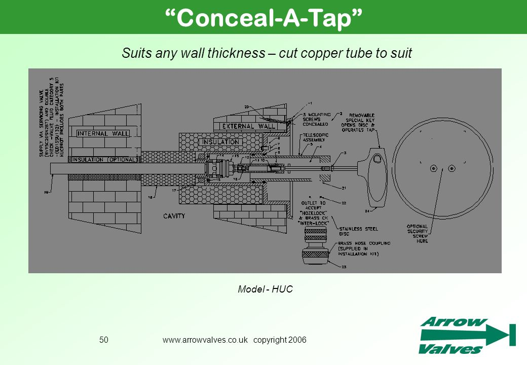 Conceal-A-Tap Suits any wall thickness – cut copper tube to suit
