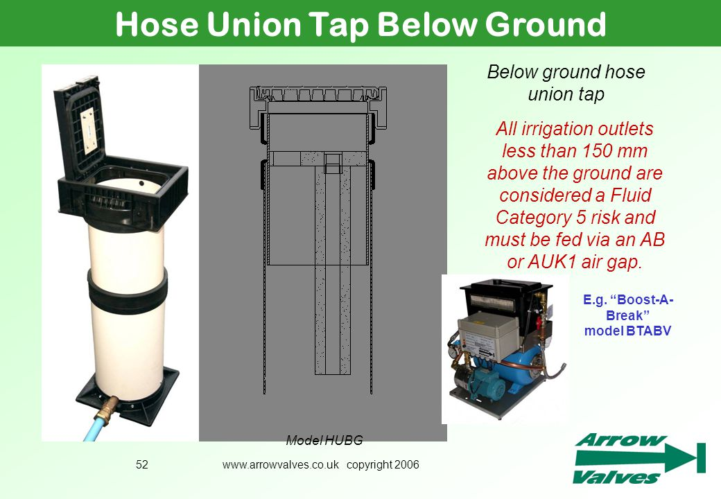 Hose Union Tap Below Ground E.g. Boost-A-Break model BTABV