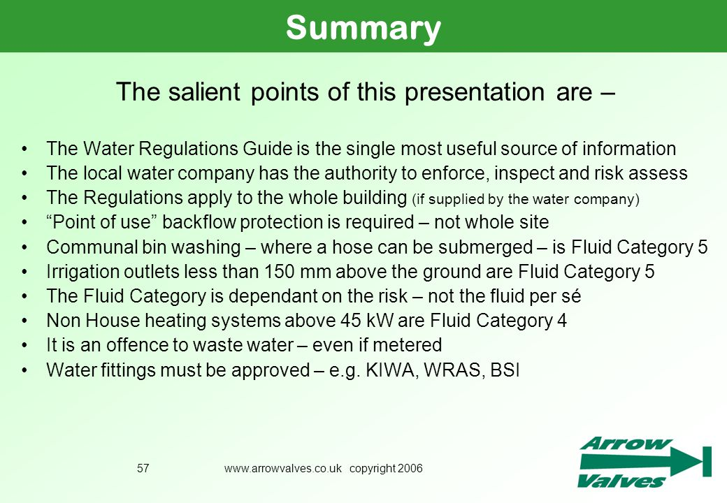 Summary The salient points of this presentation are –