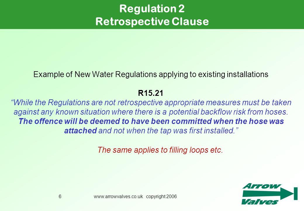 Regulation 2 Retrospective Clause