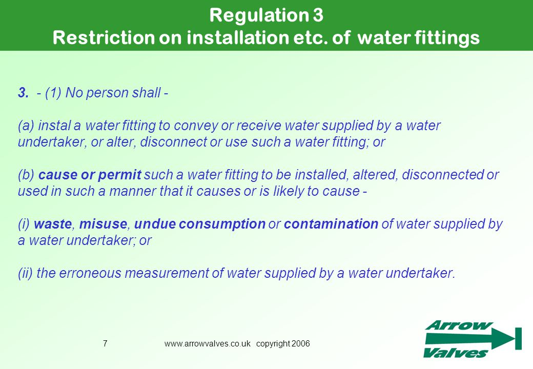 Restriction on installation etc. of water fittings
