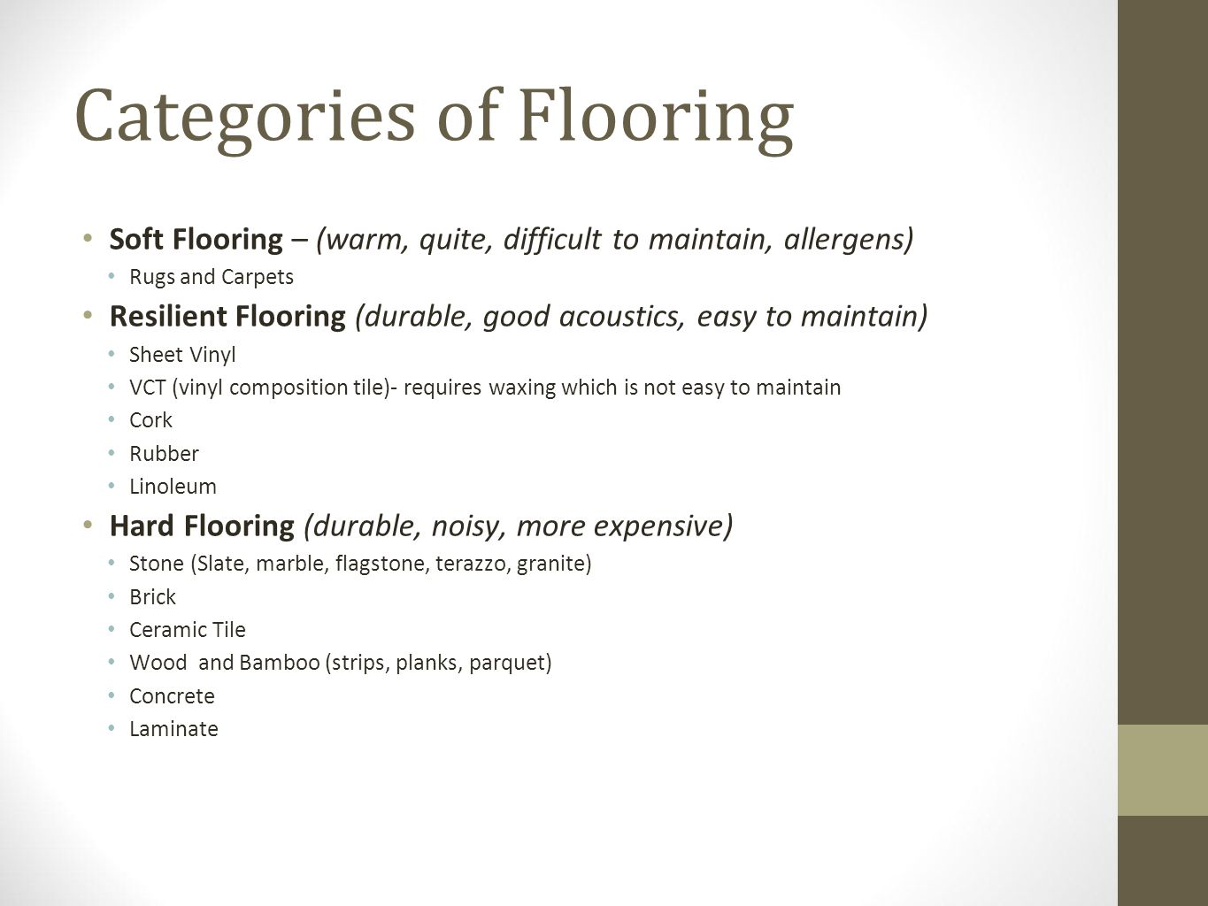 Categories of Flooring