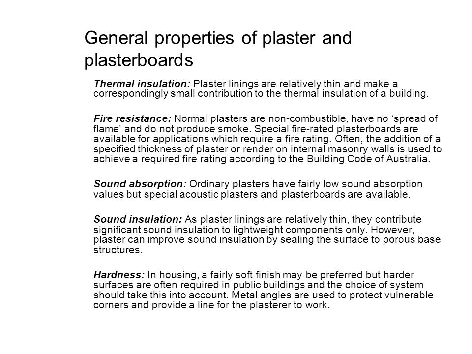 General properties of plaster and plasterboards