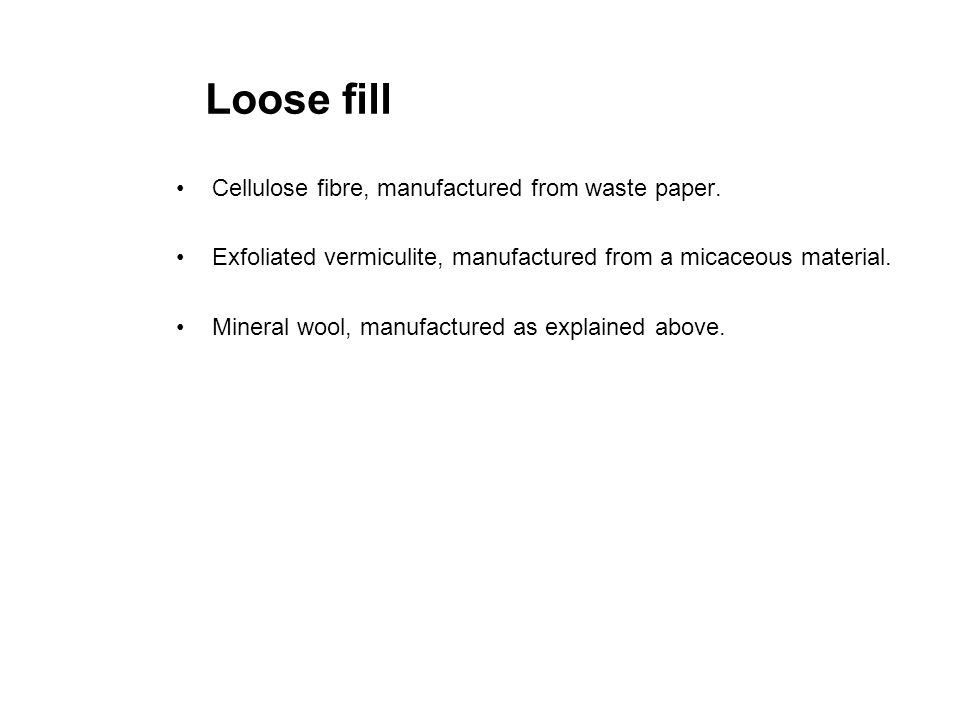 Loose fill Cellulose fibre, manufactured from waste paper.