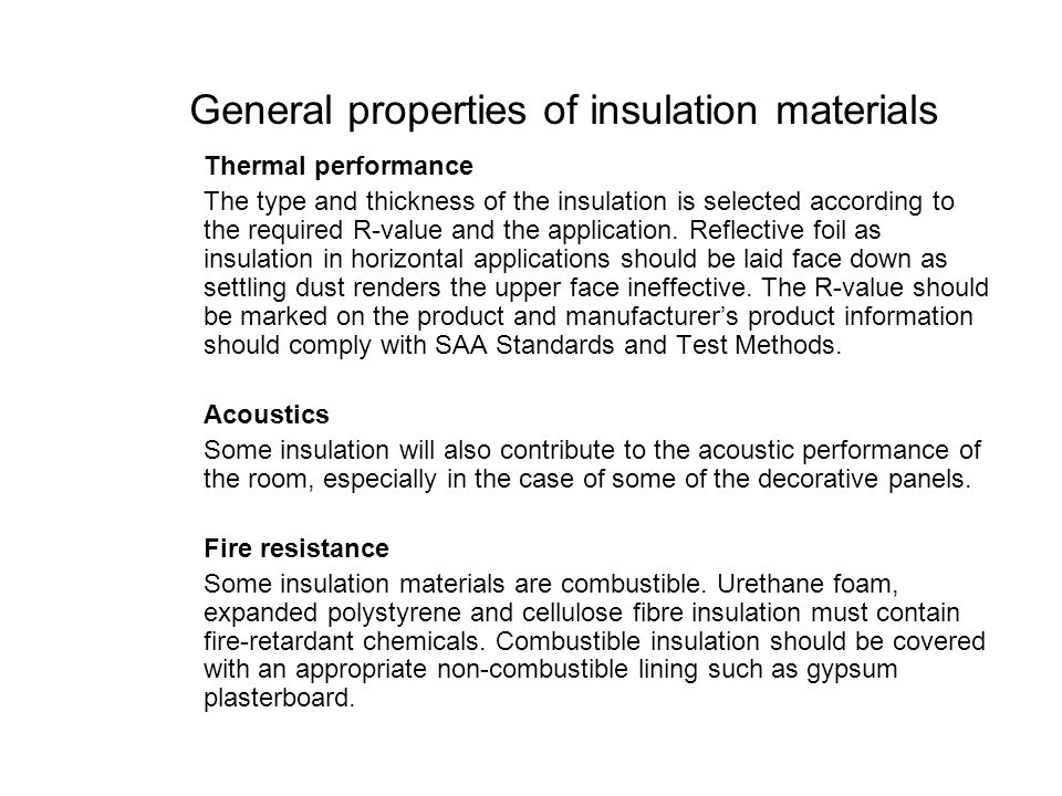 General properties of insulation materials