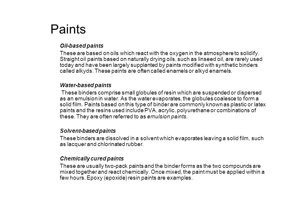 Paints Oil-based paints