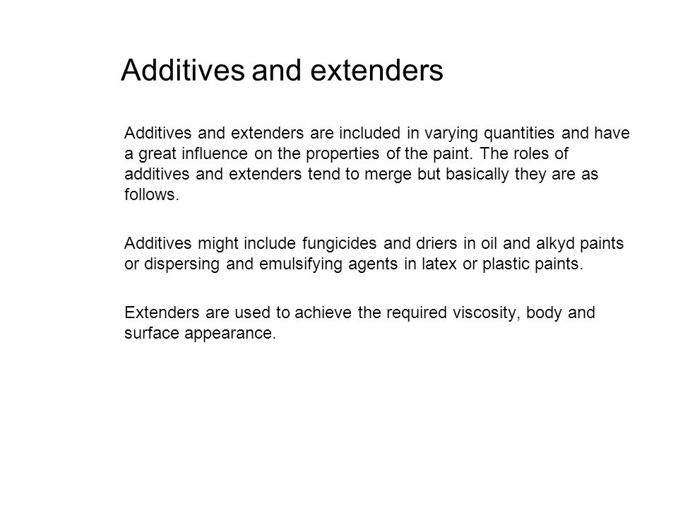 Additives and extenders