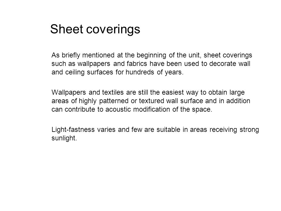 Sheet coverings