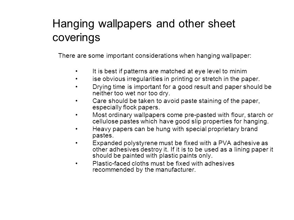 Hanging wallpapers and other sheet coverings