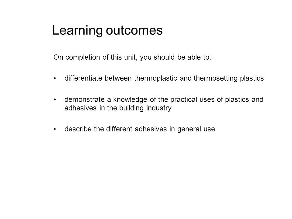 Learning outcomes On completion of this unit, you should be able to:
