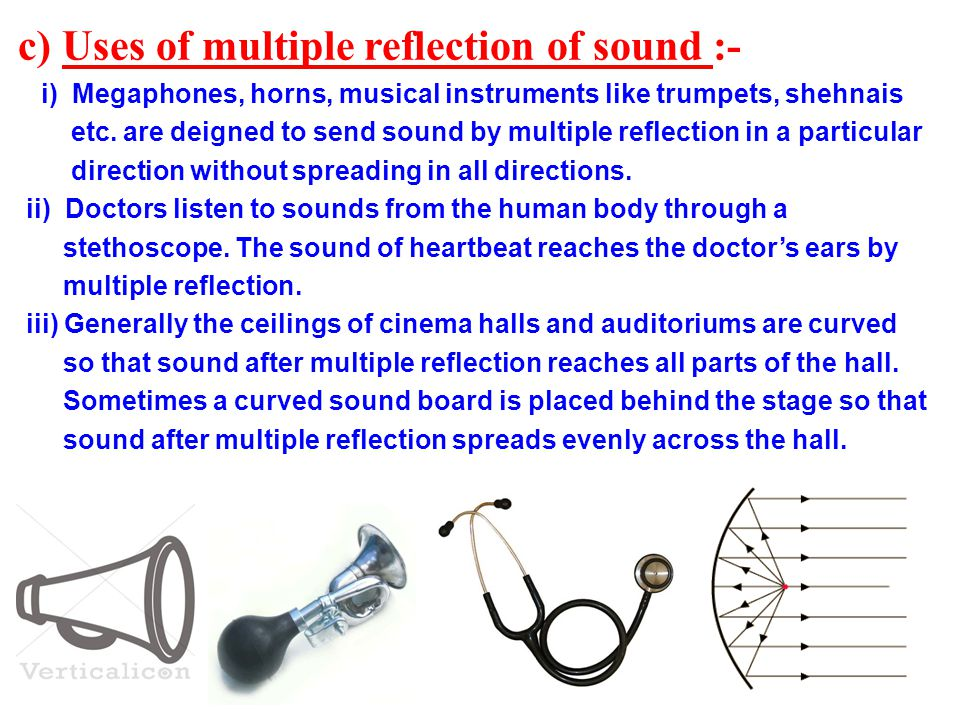 c) Uses of multiple reflection of sound :-