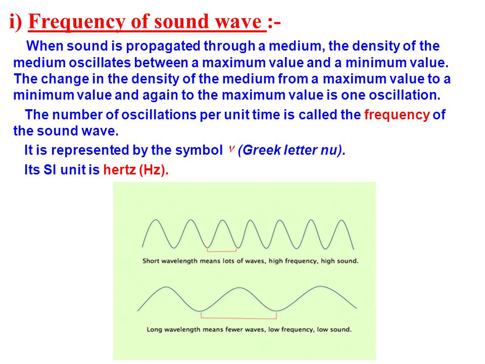 i) Frequency of sound wave :-