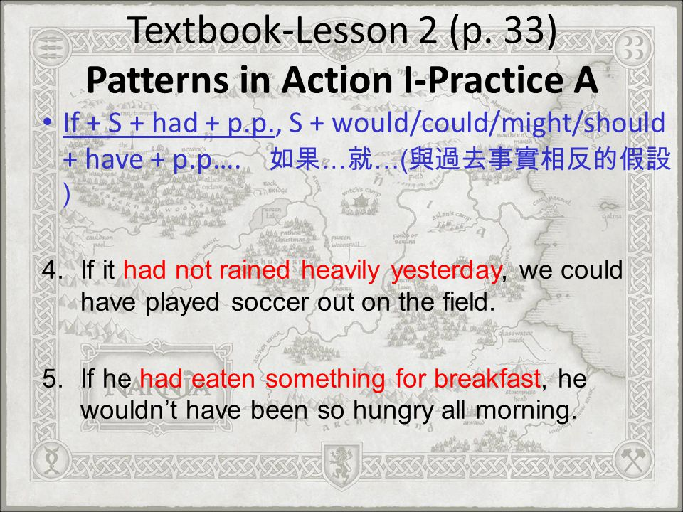 Textbook-Lesson 2 (p. 33) Patterns in Action I-Practice A