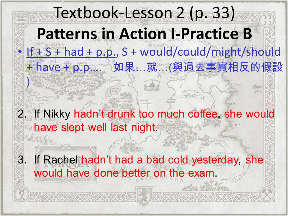 Textbook-Lesson 2 (p. 33) Patterns in Action I-Practice B