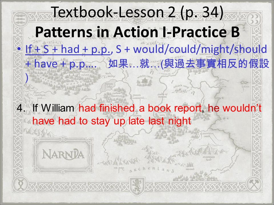 Textbook-Lesson 2 (p. 34) Patterns in Action I-Practice B