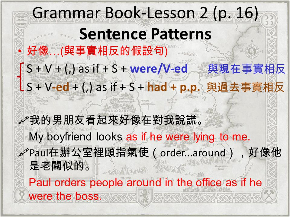Grammar Book-Lesson 2 (p. 16) Sentence Patterns