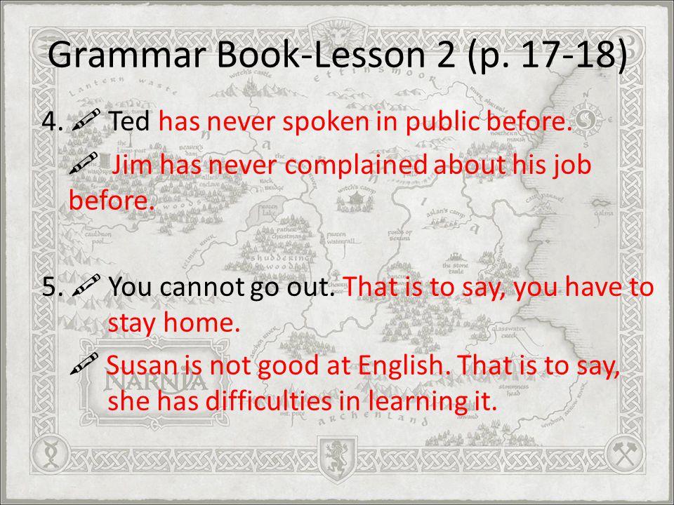 Grammar Book-Lesson 2 (p. 17-18)