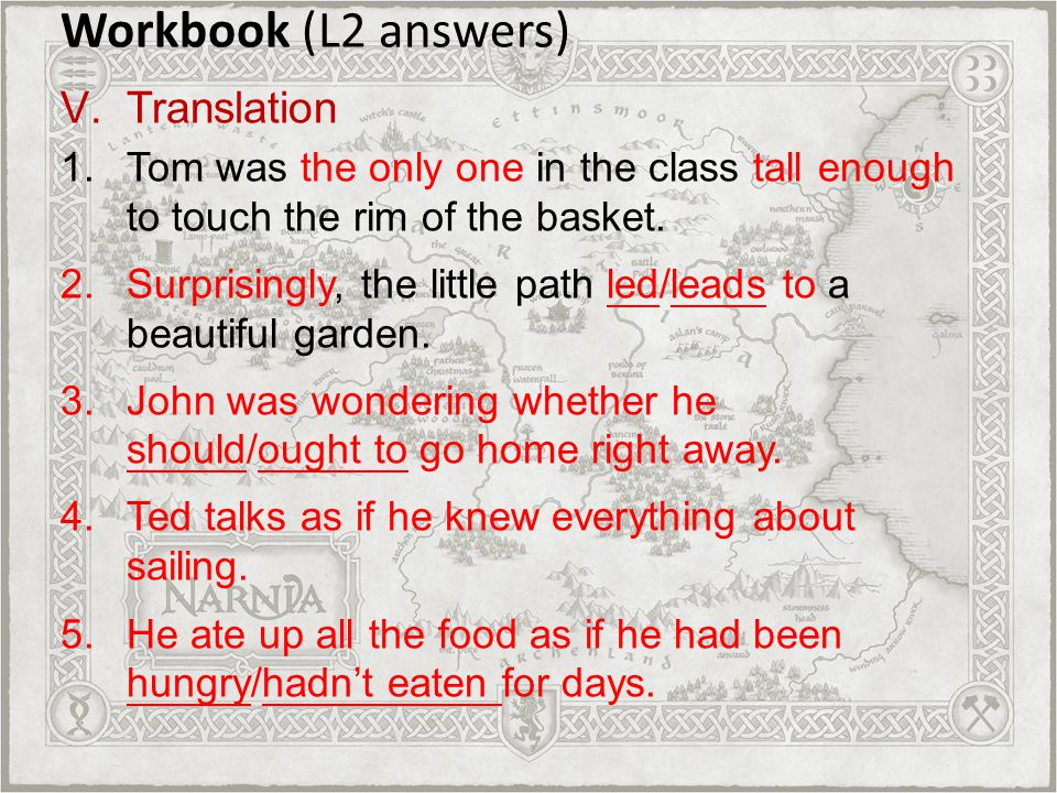 Workbook (L2 answers) Translation