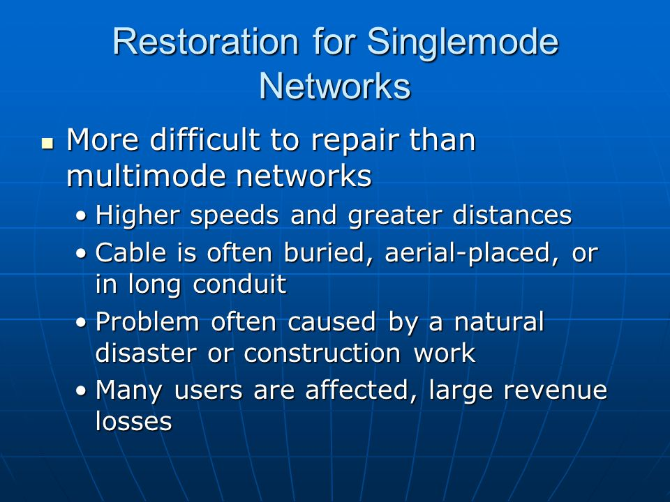 Restoration for Singlemode Networks
