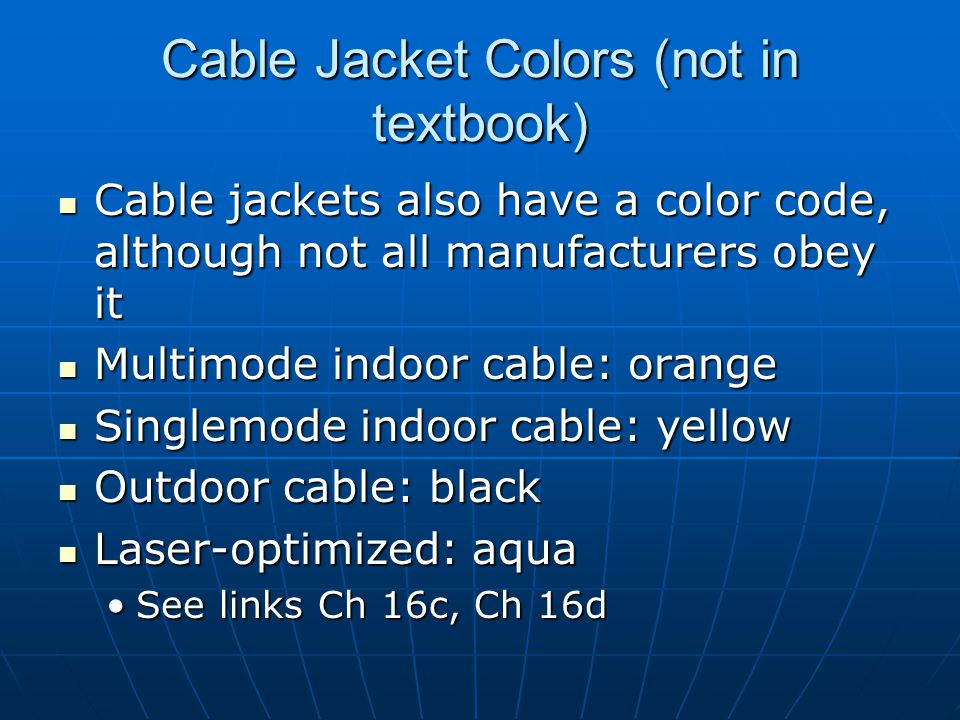 Cable Jacket Colors (not in textbook)