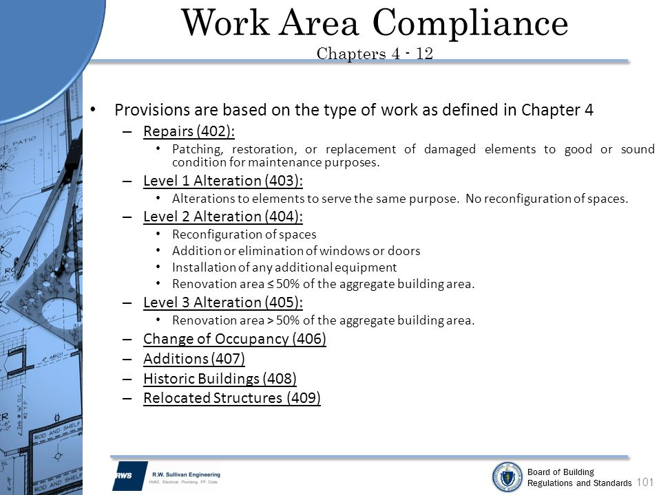 Work Area Compliance Chapters 4 - 12