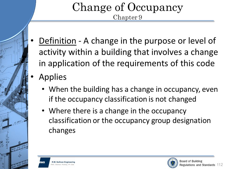 Change of Occupancy Chapter 9